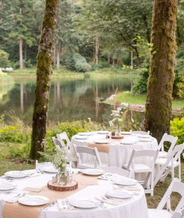 Hosting outdoor events in a forested wedding venue
