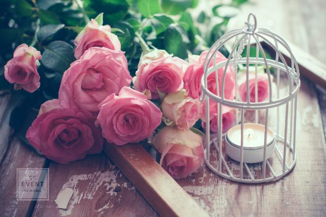 bird cage event decor flowers