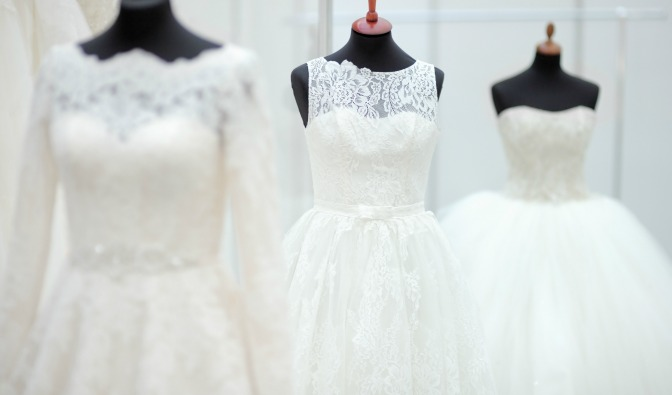 Wedding dresses on mannequins