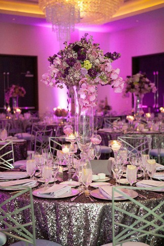 Wedding table spread with mood lighting