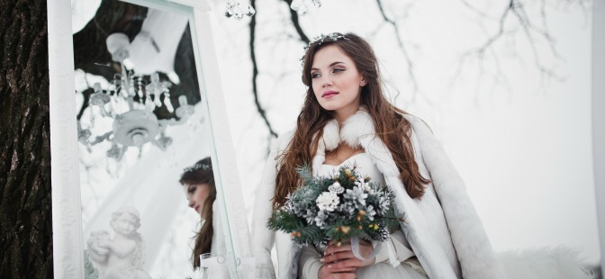 Bride at a winter wedding
