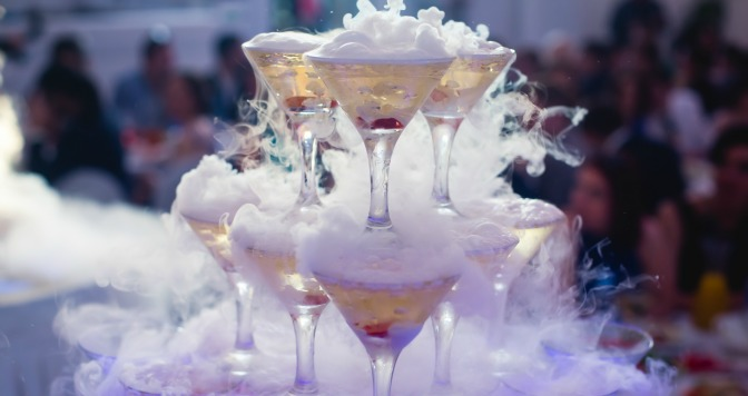 Event centerpiece of unique smoking cocktails