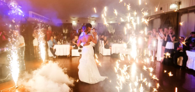 A couple's first dance at their wedding