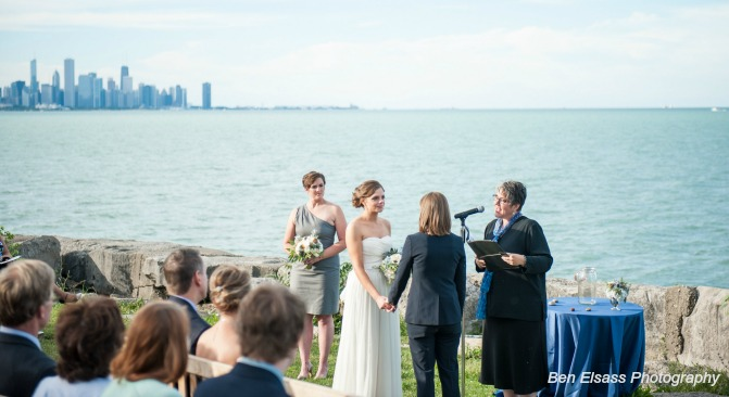 Same-sex marriage ceremony by the waterfront. Ben Elsass Photography.
