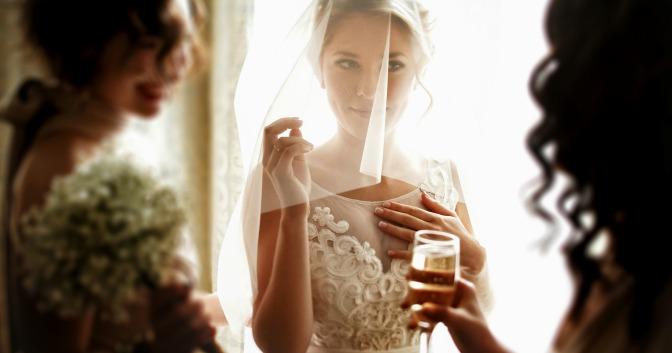 Luxury bride with her bridesmaids