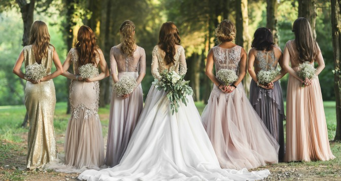 Bride lined up with her bridesmaids