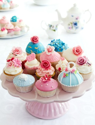 Artfully decorated cupcakes