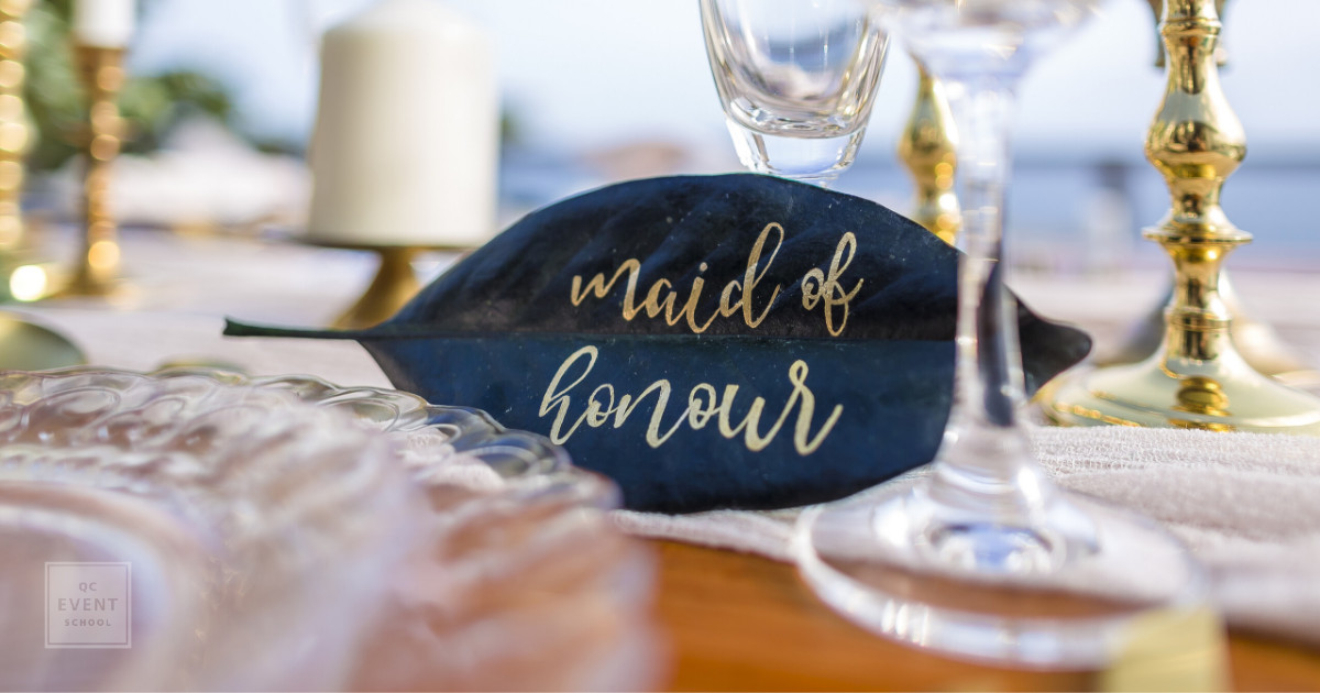 wedding event decor - maid of honor table seating leaf