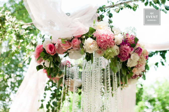 floral chandelier wedding decor
