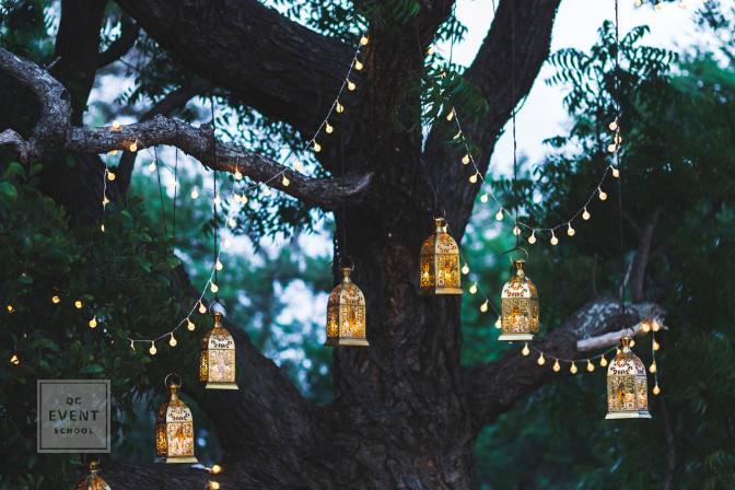 lanterns and string lights for event decor