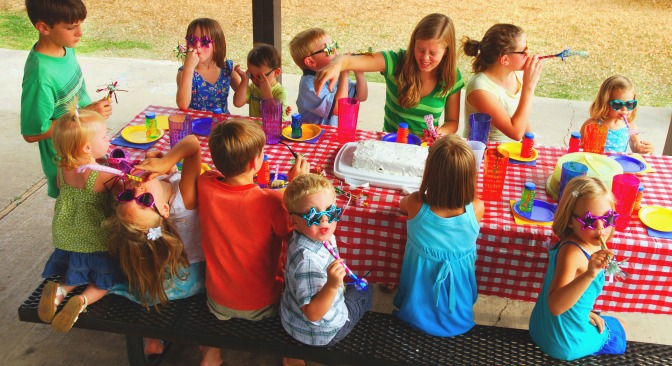 Goodie bags can help keep kids occupied at their own tables