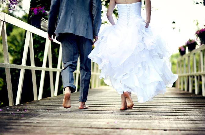 couple walking away