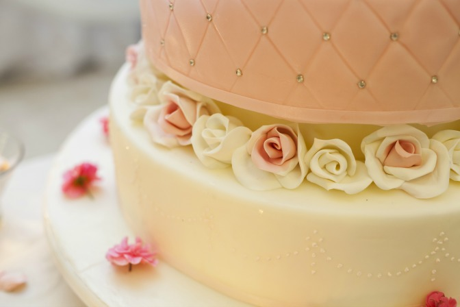 Buttercream icing on a perfect wedding cake