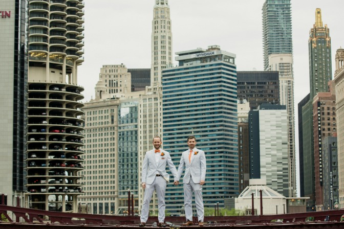Same Sex Couples Two Grooms Standing by Skyscrapers