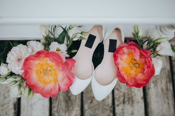 Marie Luciano Ask Me Anything—Wedding shoes and bouquet