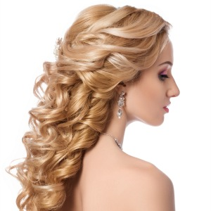 Soft curls pinned half-up