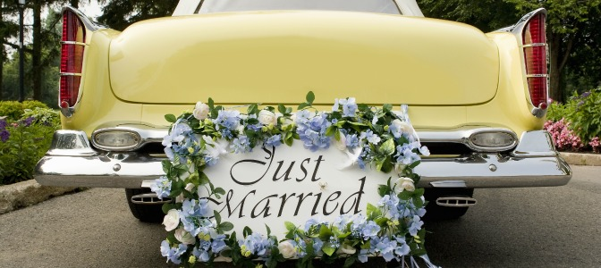 Just married sign for wedding toast by best man