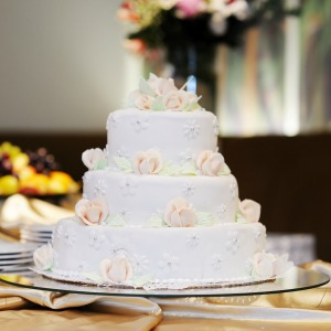 Traditional tiered wedding cake