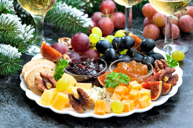 Food platters and drink selection for a holiday party