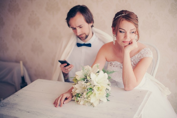 Upset bride and groom on the wedding day—problem wedding guests