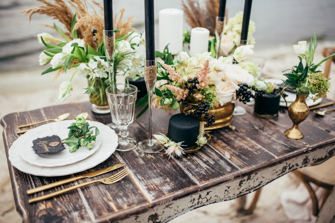 Metallic DIY pieces for weddings and event table settings