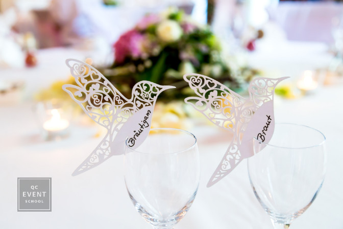 bird name cards seating plan at wedding reception event planning