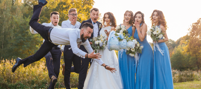 bad guest drops wedding cake in front of wedding party