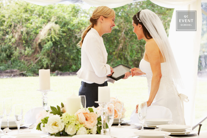 Wedding planner working with bridal client