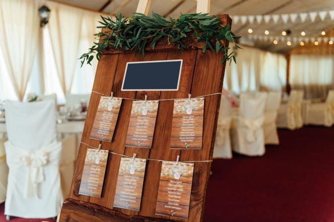 Rustic wedding board for reception decor