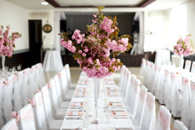 Wedding table setting and table decor