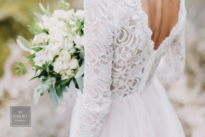 bridal gown with bouquet