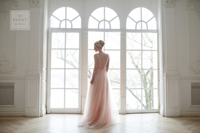 pink wedding dress simple and non-traditional for a second wedding