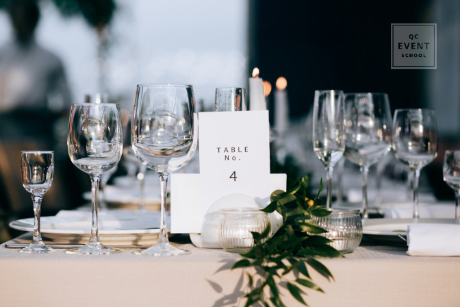 tablesetting with numbers elegant event planning job
