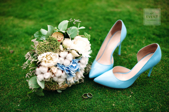 wedding planning and event planning wedding blue shoes and bouquet