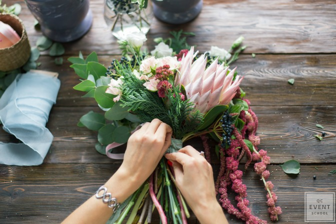 putting together a bouquet