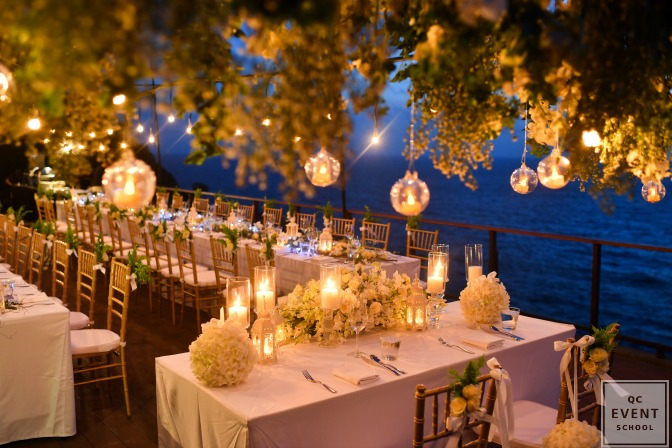beautifully decorating wedding at night