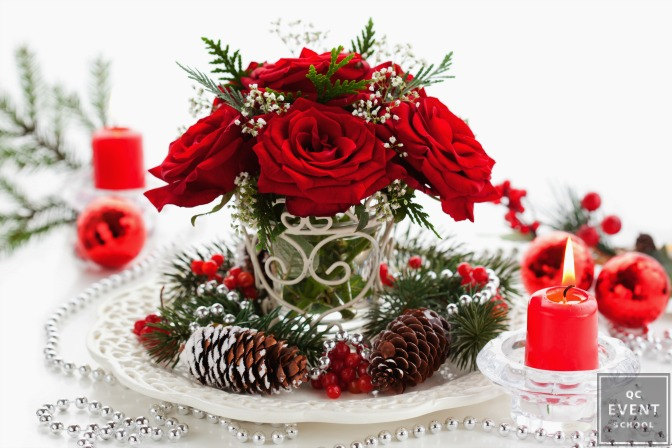 Holiday flowers on a table