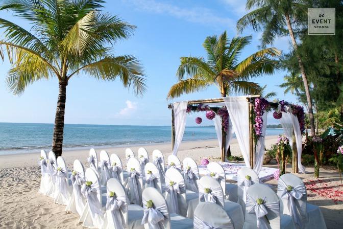 Destination wedding ceremony on tropical beach