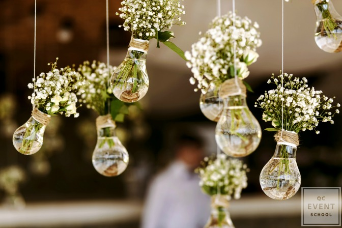 hanging lightbulb decor with flowers