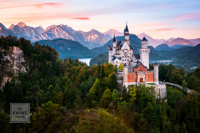 Neuschwanstein castle during sunrise destination wedding location