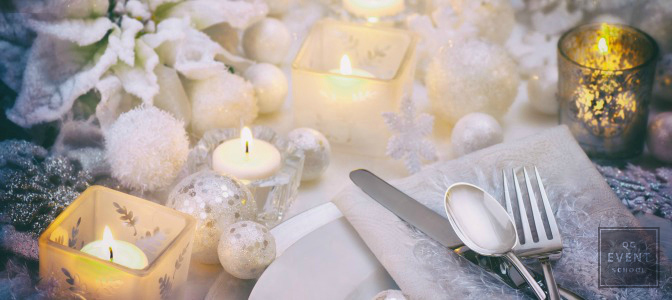 Winter wedding table setting learned from Wedding Planner Course