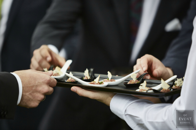 upscale appetizers at wedding cocktail reception