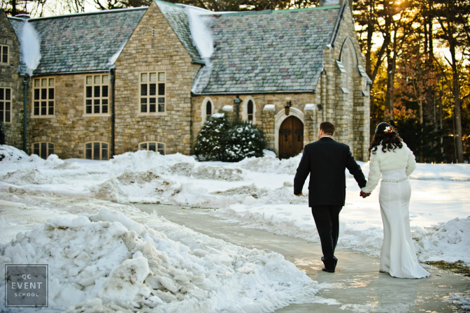 Winter wedding at a castle