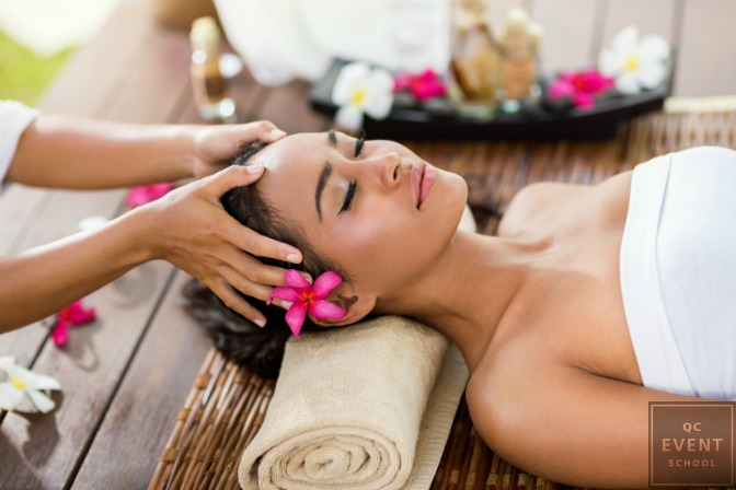 woman relaxing at spa after creating startup business