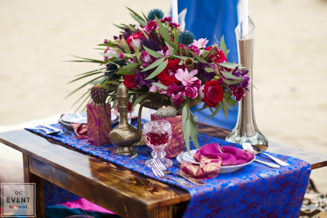 purple and blue decor for events