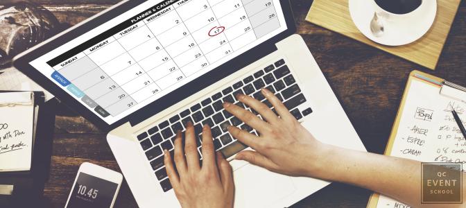 wedding planning schedule on laptop