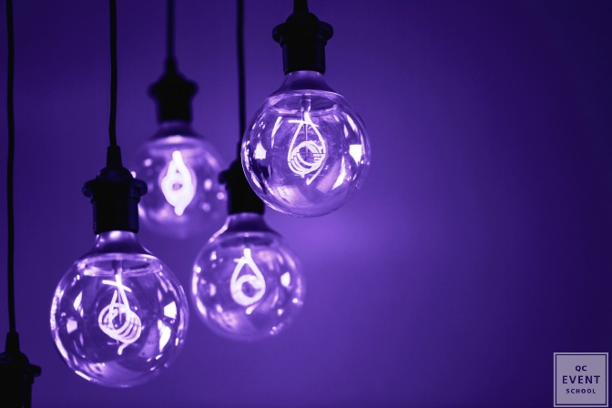 ultra violet light bulbs as wedding decor