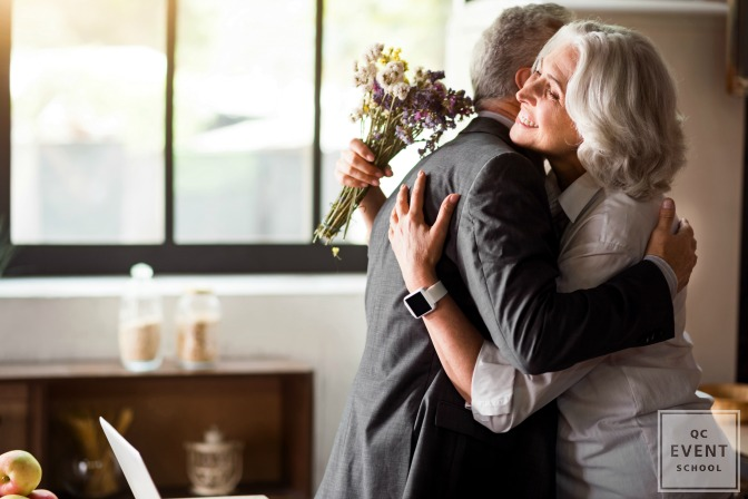 couple embracing at wedding anniversary