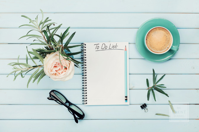 event planning business spring flatlay concept