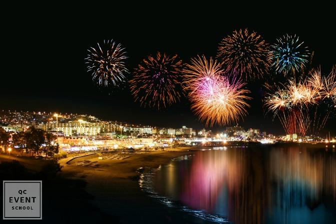 fireworks over the beach